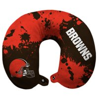 Cleveland Browns Splatter Polyester Snap Closure Travel Pillow - Brown