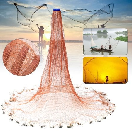 4FTx8FT  Fish Cast Net Saltwater Bait Casting Net Easy Throw Strong Nylon Line & Sinker For Hand Casting](Fish Netting)