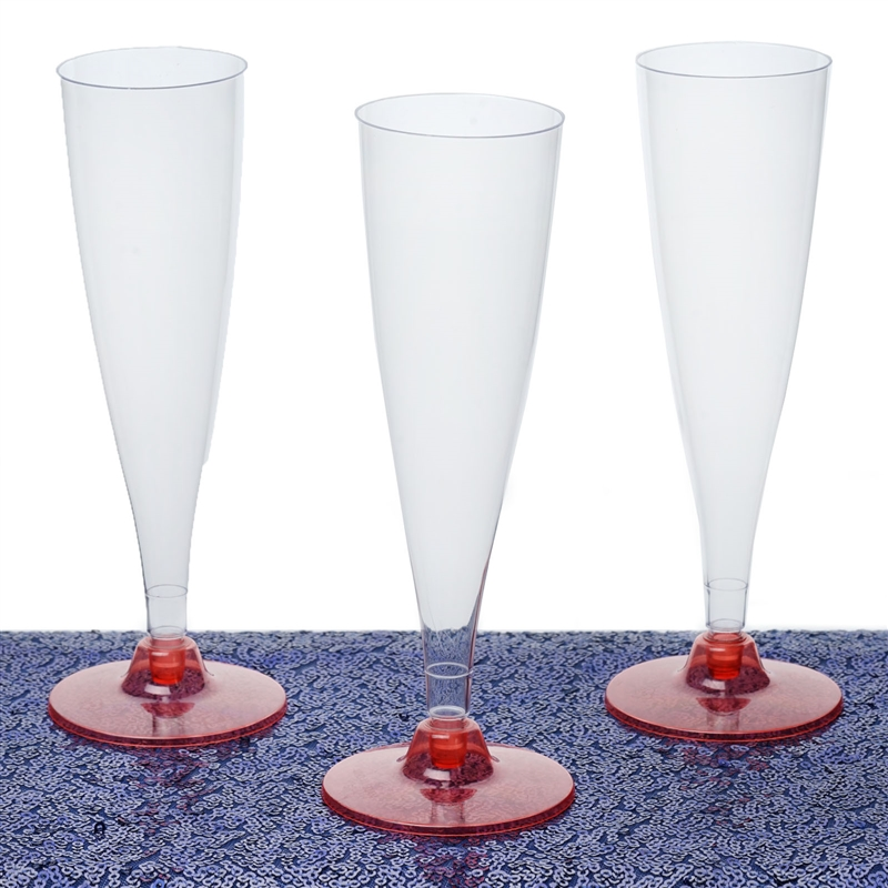 12 Pack Red 4.7oz Trendy Hollow Stem Plastic Disposable Champagne Flutes 4PK