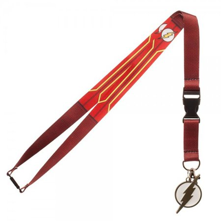 DC Comics The Flash Suit Up Lanyard with Collectible Sticker,  ID Badge Holder & Metal Charm