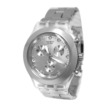 Swatch SVCK4038G Full Blooded Silver Chrono Unisex Watch NEW, $165