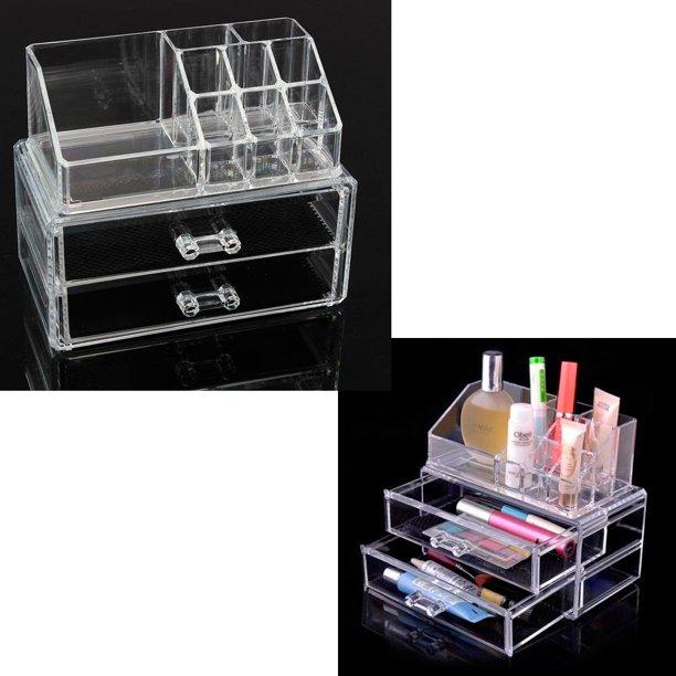 Clear Acrylic Jewelry Organizer Drawer Makeup Box Display Holder Storage Case Walmart Com Walmart Com