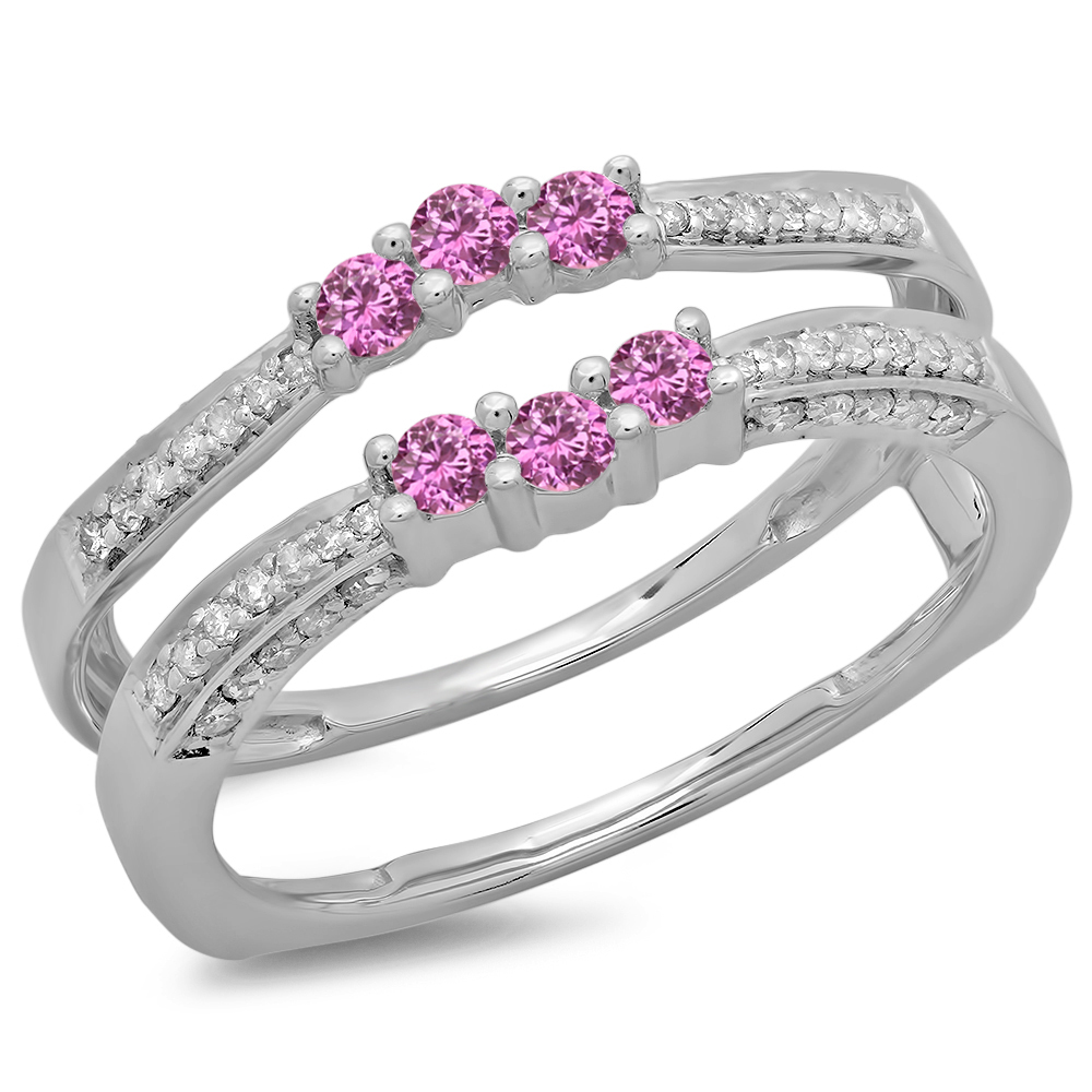 14K Gold Round Pink Sapphire & White Diamond Ladies Anniversary Wedding Band Enhancer Guard Double Ring by DazzlingRock