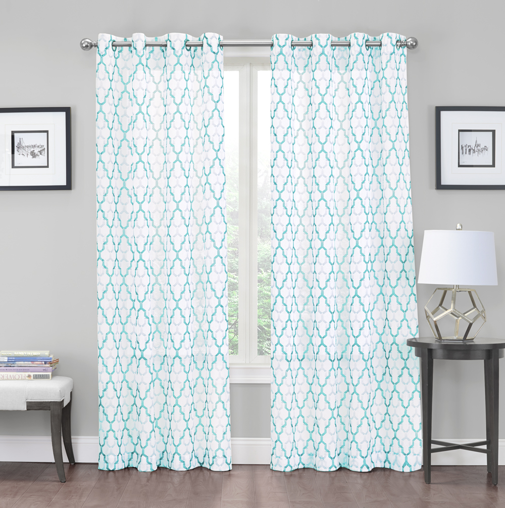 2 Pack: Charlton Luxurious Trellis Crushed Grommet Sheer Voile Curtains - Aqua