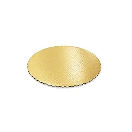 SafePro 12RGS, 12-Inch Gold Round Scalloped Cardboard Pads, 0.08 Inches Thick Non Grease Proof Cake Circles Trays (50)