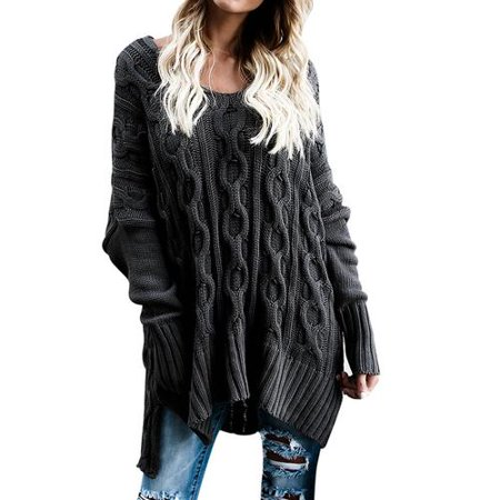 66f526c629e808 INNOVEE - Women's Casual Oversized Sexy Long Sleeve Knitted Crewneck Knit  Sweater Loose Plus Size Pullover Cardigan - Walmart.com