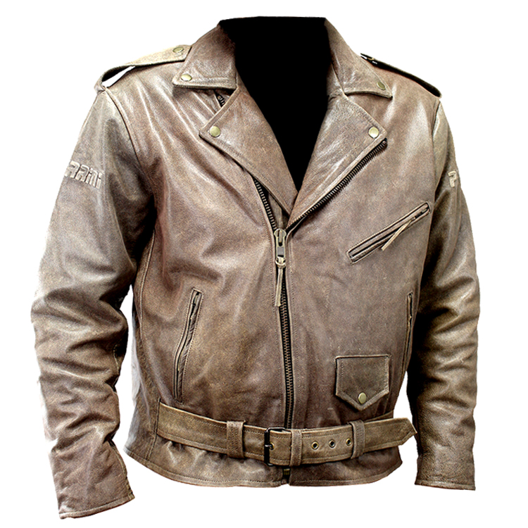 Perrini New Men S Buffalo Motorcycle Leather Jacket Retro Style