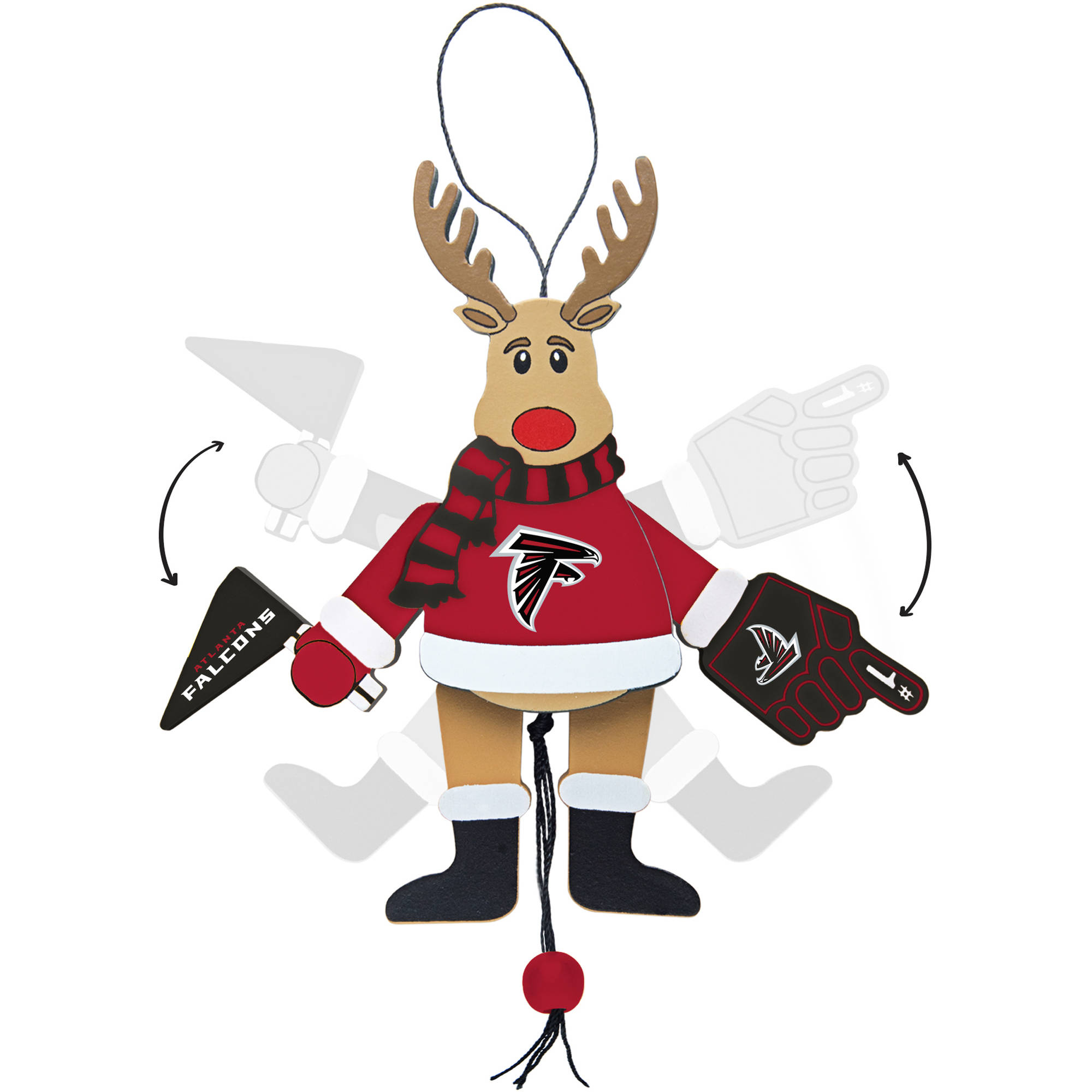 Topperscot by Boelter Brands NFL Wooden Cheering Reindeer Ornament, Atlanta Falcons