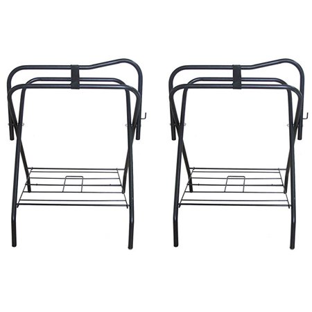 Lot of 2 Horse English Western Folding Metal Saddle Rack Stands Tack Black 4601