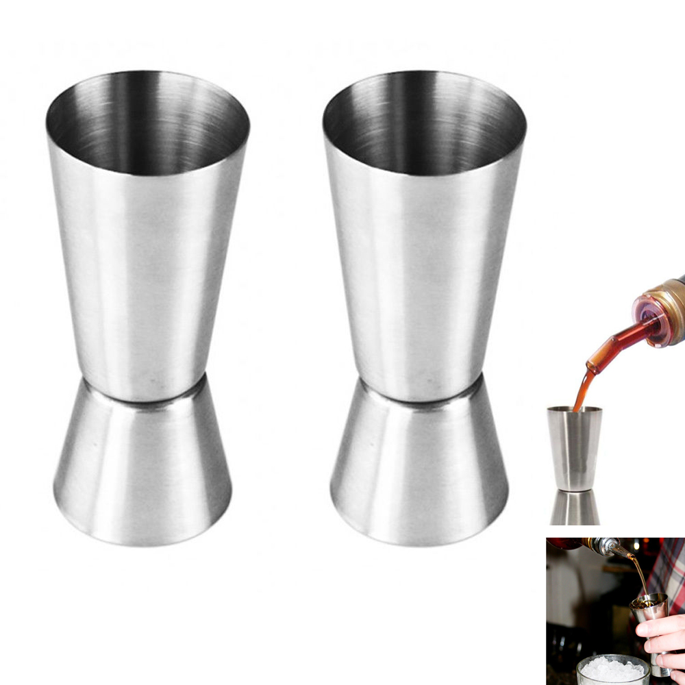 2 Pc Stainless Steel Jigger Set Double Cocktail Measure Mixing Drinks Bar Shots by Chef Craft