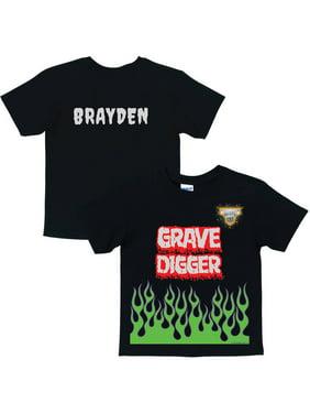 Personalized Monster Jam Grave Digger Uniform Boys' T-Shirt, Black