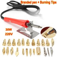 25 Pcs 30W 220V/240V Wood Burning Iron Pen Set Kit Tips Soldering Gun Weldering Tools Pyrography Leather Crafts with Metal Stand