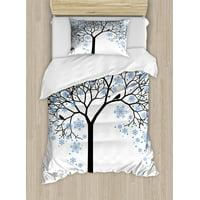 Winter Twin Size Duvet Cover Set, Barren Tree Silhouette Snowflake Leaves Hand Drawn Interpretation Snow Season, Decorative 2 Piece Bedding Set with 1 Pillow Sham, Blue Black White, by Ambesonne
