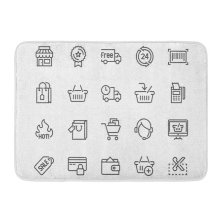 GODPOK Simple of Shopping Related Line Contains Such As Delivery Bag Sale Wallet Online Support and More Stroke Rug Doormat Bath Mat 23.6x15.7 inch
