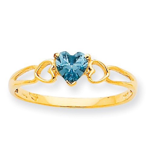10k Yellow Gold Polished Geniune Aquamarine Birthstone Ring by Jewelrypot