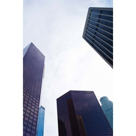 Low Angle View Of Skyscrapers Wells Fargo Center California Plaza Us Bank Building Los Angeles California Usa Canvas Art   Panoramic Images  24 X 36
