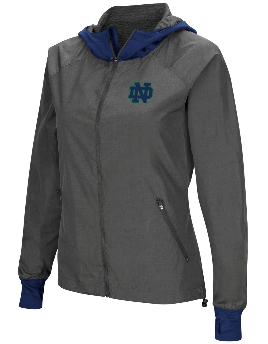 Notre Dame Fighting Irish NCAA Women's Backside Full Zip Hooded Charcoal Jacket by Colosseum