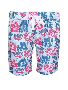 Sun Emporium Baby Boys Red Blue Vintage Surfer Print Board Shorts