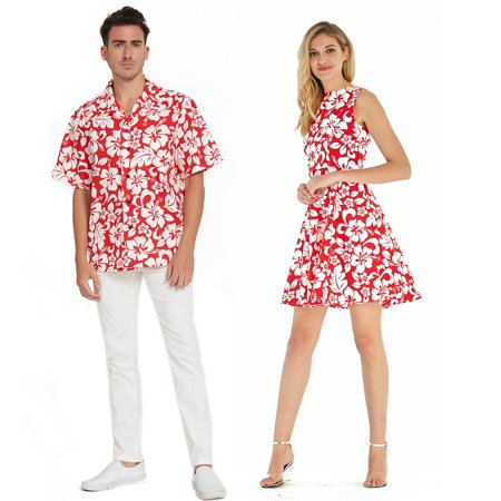 Couple Matching Hawaiian Luau Cruise Outfit Shirt Vintage Fit and Flare Dress Classic Vintage Hibiscus Red Men 2XL Women L](Halloween Outfits Couples)