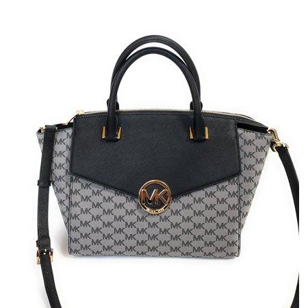 MICHAEL Michael Kors Leather Hudson Signature Large Satchel Bag - Black