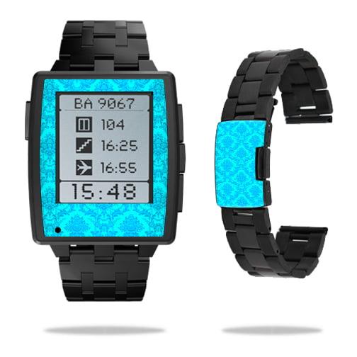Skin Decal Wrap for Pebble Steel Smart Watch sticker Blue Vintage