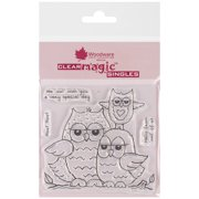 """Woodware Clear Stamps 3.5""""X3.5""""-Owl Family"""