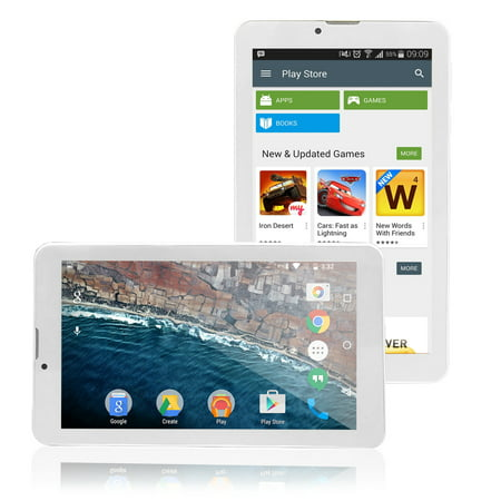 7-inch Android Tablet by Indigi® White, DualCore 1.3GHz, DualSIM, WiFi enabled (GSM unlocked) - Btooth Headset Included