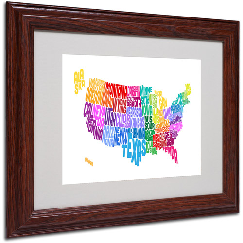 "Trademark Fine Art ""USA States Txt Map 3"" Matted Framed Art by Michael Tompsett"