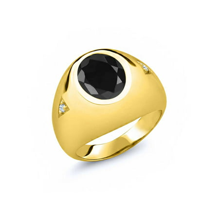 4.48 Ct Oval Black Sapphire White Topaz 18K Yellow Gold Plated Silver Men