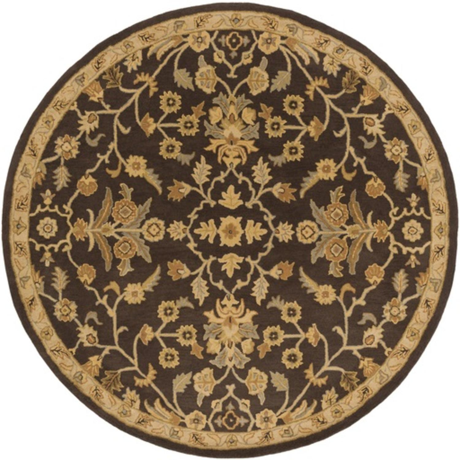 9.75' French Elegance Espresso, Gray and Gold Hand Tufted Round Wool Area Throw Rug
