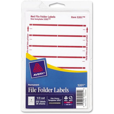 Avery Print or Write File Folder Labels, 11/16 x 3 7/16, White/Dark Red Bar,