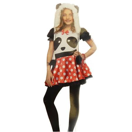 Kid Panda Costume (Fun World Girls Pretty Panda Polka Dot Child Costume Size Medium)