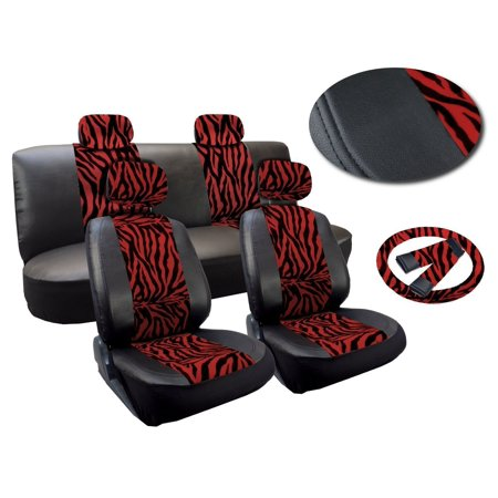 (Red and Black Zebra) 13 Piece Zebra Stripes Print Deluxe Leatherette Full Car Seat Cover Set Premium Synthetic Leather Double Stitched