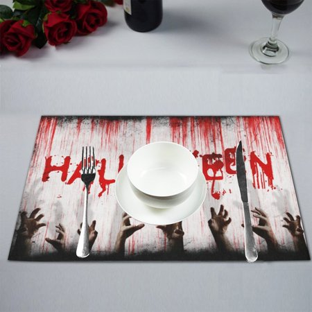 MYPOP Halloween Kitchen Table Mat Placemats for Dining Table 12x18 inches (Tables Decorated For Halloween)