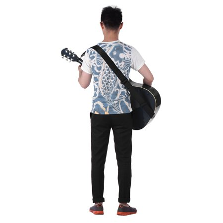 Adjustable Guitar Shoulder Strap Nylon Belt Synthetic Leather Ends with 3 Small Pockets and 3pcs Guitar Picks for Acoustic Folk Classic Electric Guitars Bass - image 5 of 6