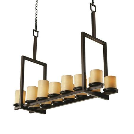 - Justice Designs CandleAria Dakota 14-LT Bridge Chandelier (Tall) - Dark Bronze - CNDL-8764-10-AMBR-DBRZ