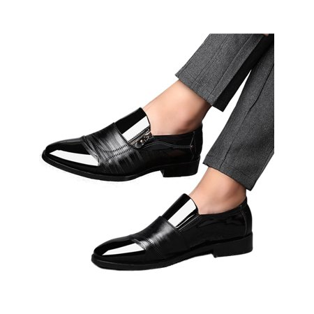 Mens Pointed Toe Wedding Business Zipper Slip On Leather Block Formal Office Work - Leather Pointed Toe Shoes