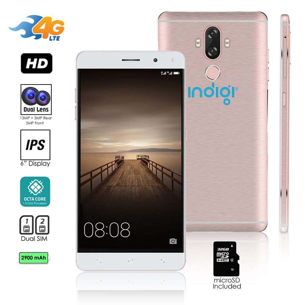 "Indigi® GSM Unlocked 4G LTE 6"" SmartPhone [ Android 7+ Octa-CORE @ 1.3GHz + DUALSIM + Fingerprint Scan) + 32gb microSD"