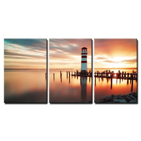 wall26 - 3 Piece Canvas Wall Art - Landscape ocean sunset - lighthouse - Modern Home Decor Stretched and Framed Ready to Hang - 16