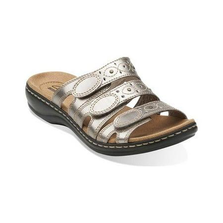 a1d1c452b09f4 Clarks Narrative Leisa Cacti Q Women N/S Open Toe Leather Bronze Slides  Sandal