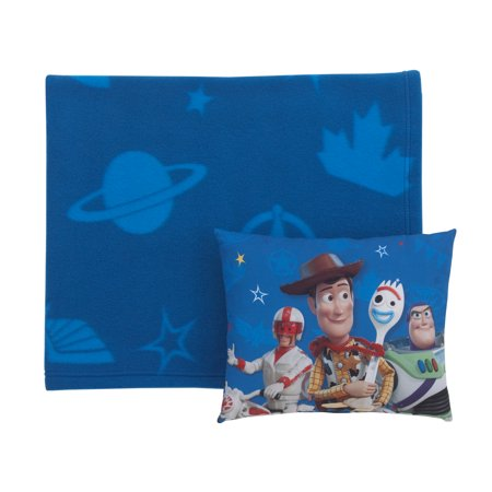 Disney Toy Story 4 - Blue, Green and White Super Soft Toddler Blanket and Pillow Set ()