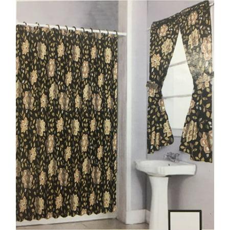Shower Curtain Drapes Bathroom Window Set W Liner Rings Brown Beige Flower Walmart Com Walmart Com