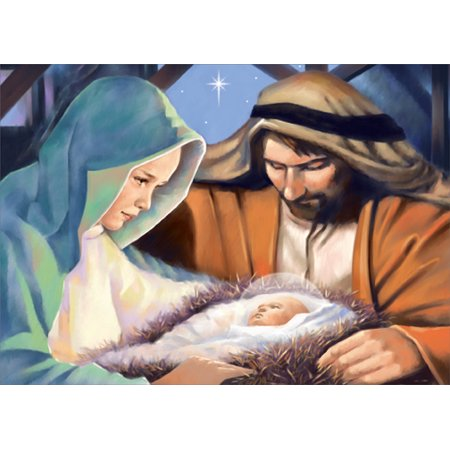 Designer Greetings Jesus, Mary and Joseph Closeup Box of 18 Religious Christmas Cards - Religious Christmas Card Sayings