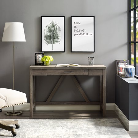 Manor Park Rustic Farmhouse Computer Writing Desk with Drawer - Grey Wash