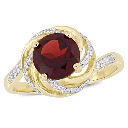 2-1/7 Carat T.G.W. Garnet, White Topaz and Diamond-Accent Yellow-Plated Sterling Silver Swirl Ring