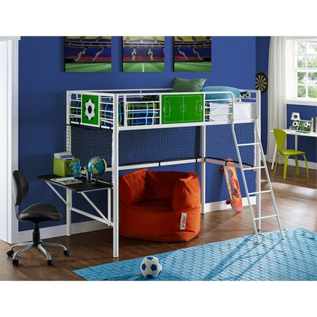 Powell Goal Keeper Sports Twin Metal Loft Bed, White
