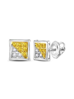 FB Jewels Sterling Silver Mens Round Yellow Color Enhanced Diamond Cluster Earrings 1/20 Cttw