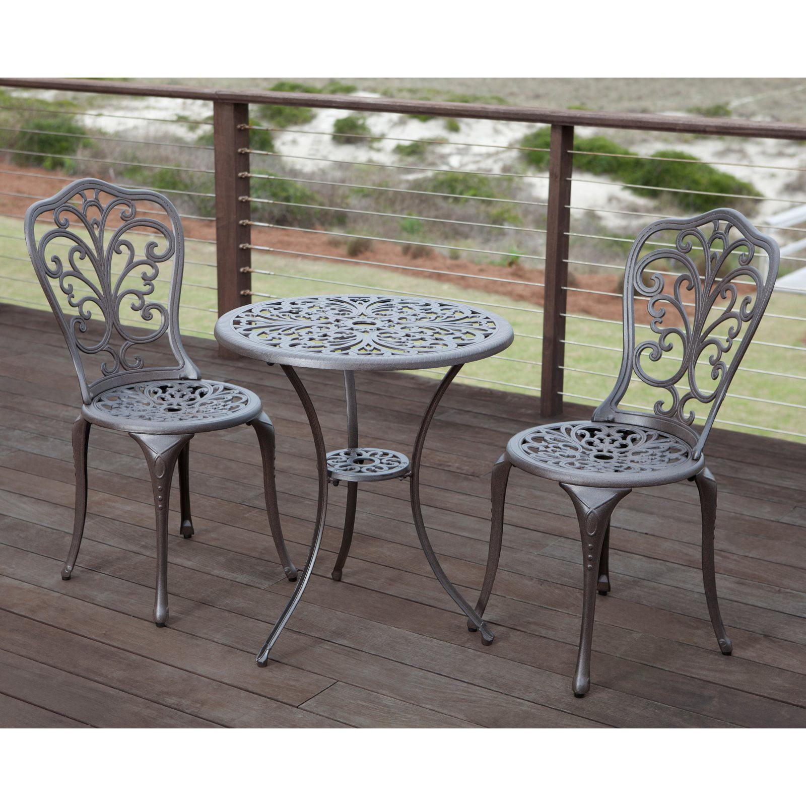 Magnificent Patio Sense Faustina Antique Bronze Cast Aluminum 3 Piece Bistro Set Dailytribune Chair Design For Home Dailytribuneorg