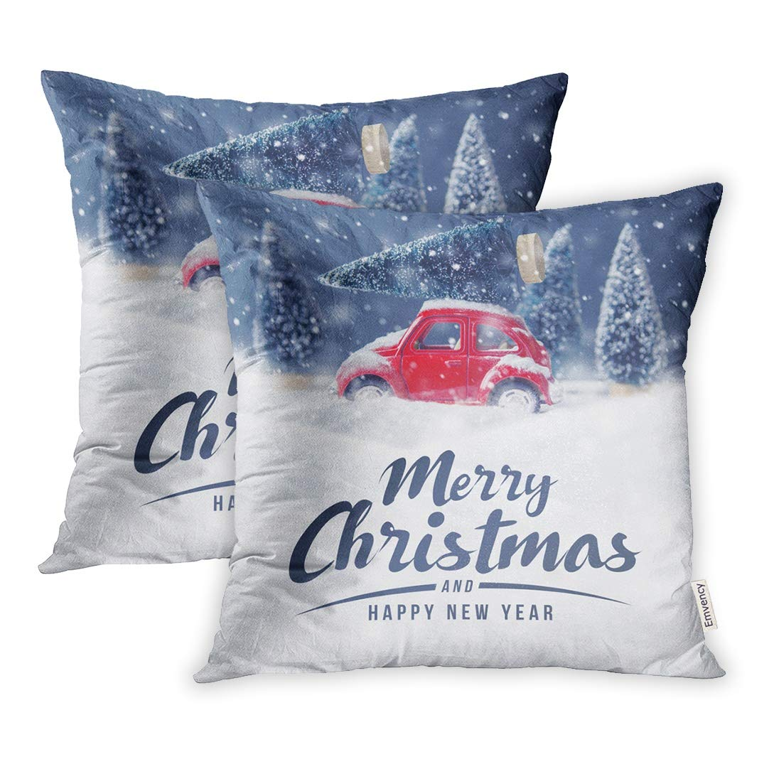 YWOTA Christmas Tree on Red Car Toy Snow Winter Merry Holiday Celebration and Happy Pillow Cases Cushion Cover 16x16 inch
