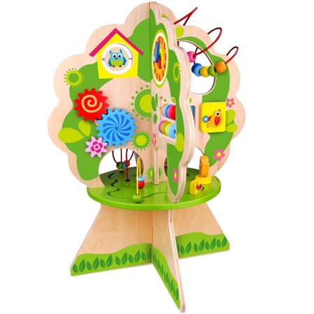 Pidoko Kids Multi Activity Center Tree, Table Top Adventures - Wooden Bead Maze Play Toy for Toddlers Boys & Girls - Activity Cube Inspired Concept (Wooden Play Table)